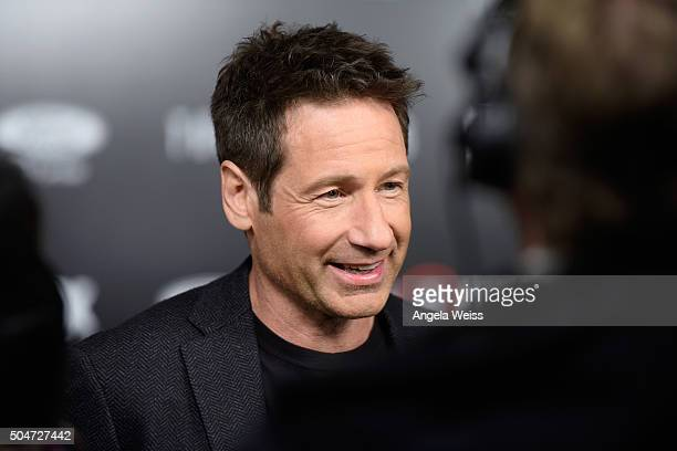 Actor David Duchovny attends the premiere of Fox's The XFiles at California Science Center on January 12 2016 in Los Angeles California