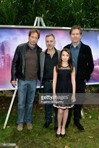 Actor David Duchovny director Anthony Fabian actress Olivia Steele Falconer and actor Timothy Hutton attend the 21st Annual Hamptons International...