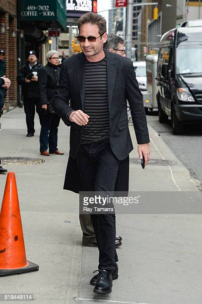 Actor David Duchovny enters 'The Late Show With Stephen Colbert' taping at the Ed Sullivan Theater on April 06 2016 in New York City