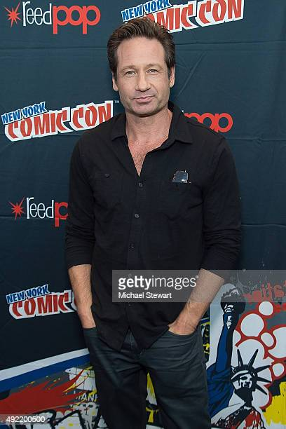 Actor David Duchovny poses in the press room for the X Files panel during New York ComicCon Day 3 at The Jacob K Javits Convention Center on October...