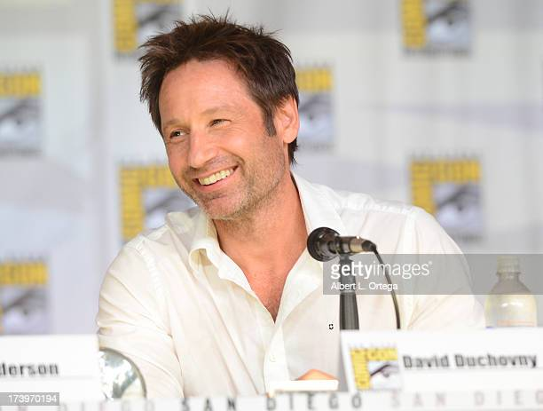 Actor David Duchovny speaks onstage during the 20th Anniversary celebration of the XFiles with TV Guide during ComicCon International 2013 at San...