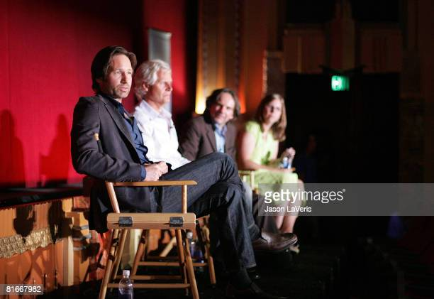 Actor David Duchovny writer/director Chris Carter executive producer Frank Spotnitz and Whitney Pastorek attend the 2008 Los Angeles Film Festival's...