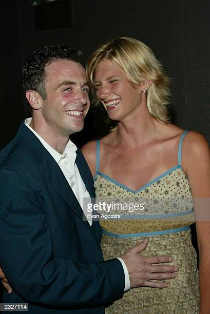 Actor David Eigenberg with girlfriend Chrysti Kotik arriving at the Tadpole film premiere at Cinema II in New York City July 15 2002 Photo Evan...