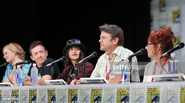 Actor David Faustino actress Seychelle Gabriel actor John Michael Higgins and actress Mindy Sterling speak at the Legend of Korra panel at the 2014...