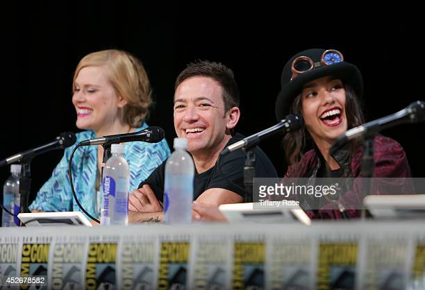 Actor David Faustino and actress Seychelle Gabriel speak at the Legend of Korra panel at the 2014 San Diego ComicCon International Day 3 on July 25...