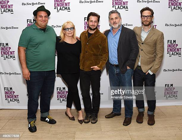 Actor David Fierro, costume designer Ellen Mirojnick, actor Michael Angarano, assistant director Gregory Jacobs and executive producer Michael Begler...