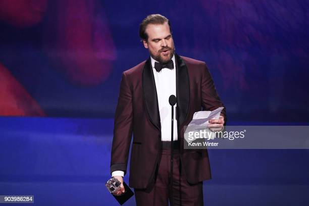 Actor David Harbour accepts Best Supporting Actor in a Drama Series for 'Stranger Things' onstage during The 23rd Annual Critics' Choice Awards at...
