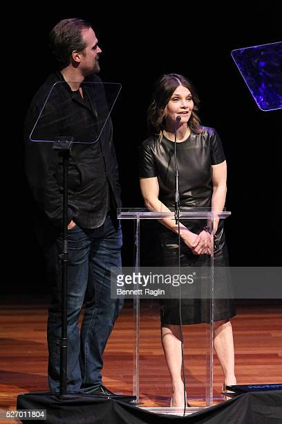 Actor David Harbour and actress Kathryn Erbe speak onstage during the 31st Annual Lucille Lortel Awards at NYU Skirball Center on May 1 2016 in New...