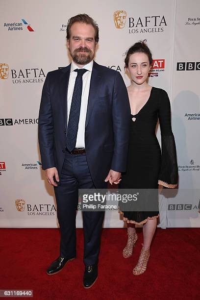 Actor David Harbour and guest attend The BAFTA Tea Party at Four Seasons Hotel Los Angeles at Beverly Hills on January 7 2017 in Los Angeles...