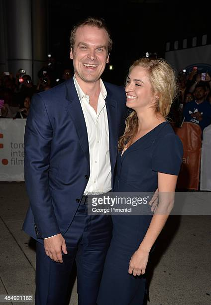 Actor David Harbour and guest attend The Equalizer premiere during the 2014 Toronto International Film Festival at Roy Thomson Hall on September 7...