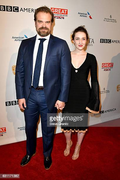 Actor David Harbour and guest attends The BAFTA Tea Party at Four Seasons Hotel Los Angeles at Beverly Hills on January 7 2017 in Los Angeles...