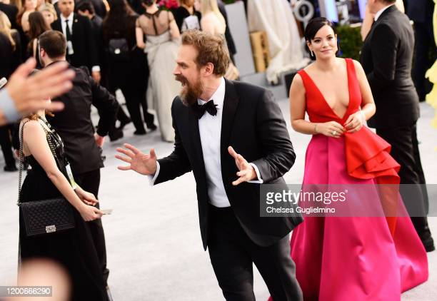 Actor David Harbour and singer Lily Allen attend the 26th annual Screen Actors Guild Awards at The Shrine Auditorium on January 19, 2020 in Los...