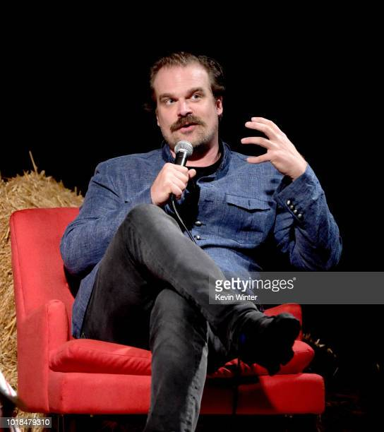 Actor David Harbour appears at a reception and screening to celebrate Netflix's 'Stranger Things' 12 Emmy nominations at the Hollywood Forever...