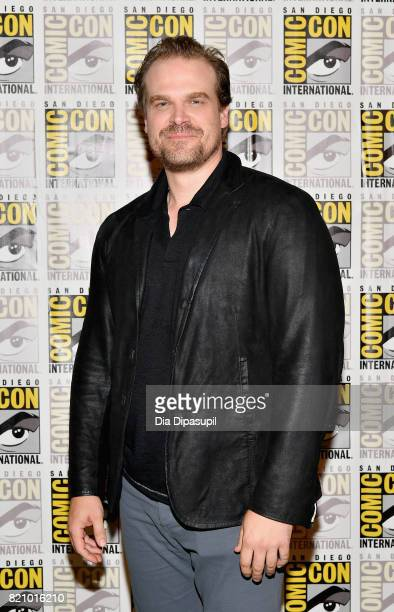 Actor David Harbour at Netflix's Stranger Things Press line during ComicCon International 2017 at Hilton Bayfront on July 22 2017 in San Diego...