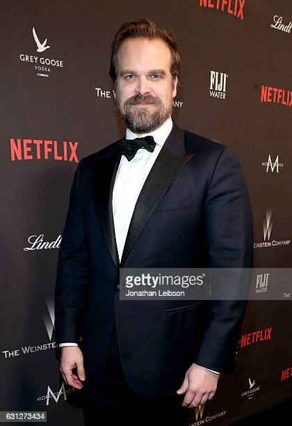 Actor David Harbour at The Weinstein Company and Netflix Golden Globes Party presented with FIJI Water at The Beverly Hilton Hotel on January 8 2017...