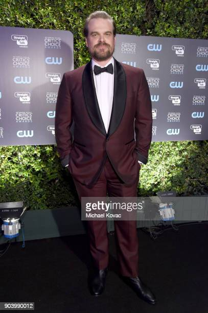 Actor David Harbour attends Moet Chandon celebrate The 23rd Annual Critics' Choice Awards at Barker Hangar on January 11 2018 in Santa Monica...