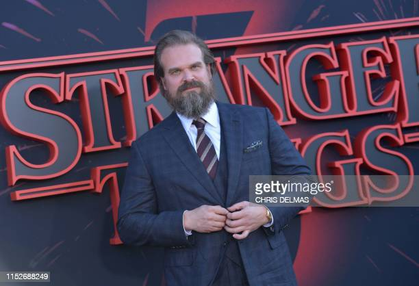 "Actor David Harbour attends Netflix's ""Stranger Things 3"" premiere at Santa Monica high school Barnum Hall on June 28, 2019 in Santa Monica,..."