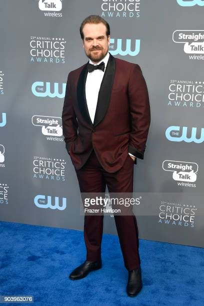 Actor David Harbour attends The 23rd Annual Critics' Choice Awards at Barker Hangar on January 11 2018 in Santa Monica California