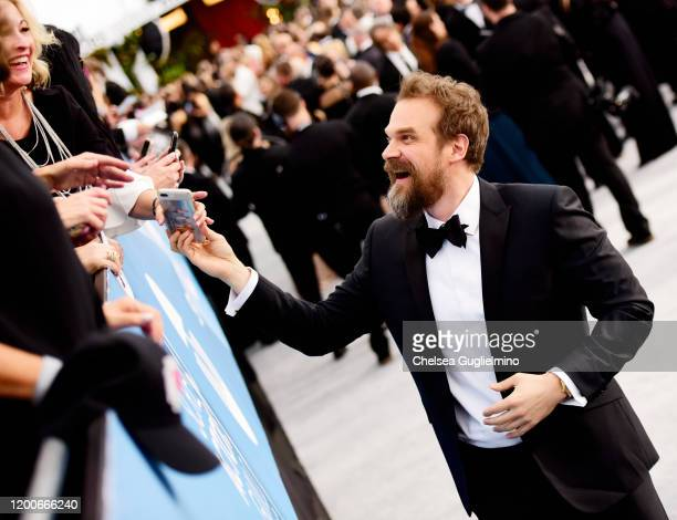 Actor David Harbour attends the 26th annual Screen ActorsGuild Awards at The Shrine Auditorium on January 19 2020 in Los Angeles California