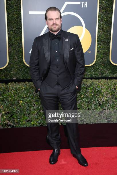 Actor David Harbour attends The 75th Annual Golden Globe Awards at The Beverly Hilton Hotel on January 7 2018 in Beverly Hills California