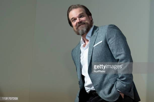 Actor David Harbour attends the 'Hellboy' photocall at Urso Hotel on March 20, 2019 in Madrid, Spain