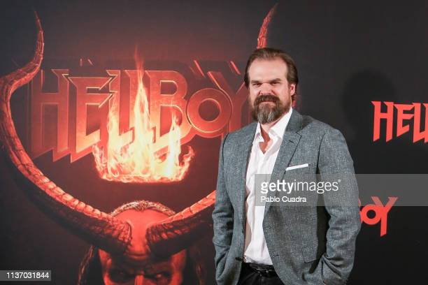 Actor David Harbour attends the 'Hellboy' photocall at Urso Hotel on March 20, 2019 in Madrid, Spain.