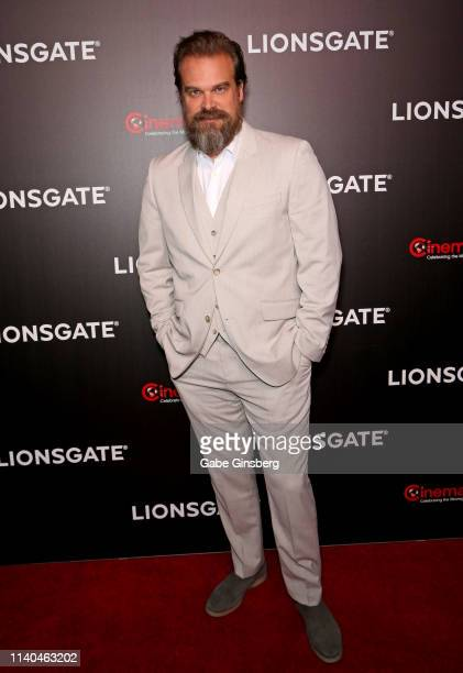 Actor David Harbour attends the Lionsgate presentation during CinemaCon at The Colosseum at Caesars Palace on April 04, 2019 in Las Vegas, Nevada....