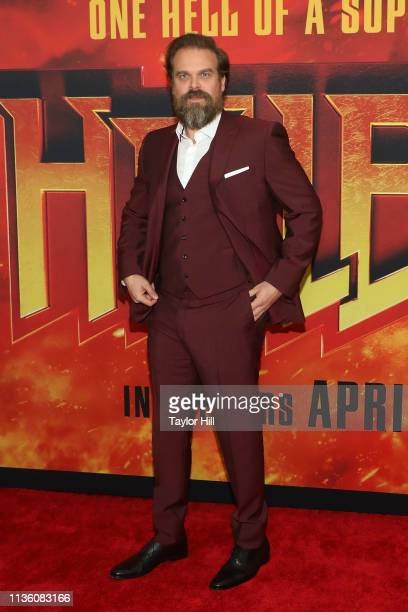 "Actor David Harbour attends the New York premiere of ""Hellboy"" at AMC Lincoln Square Theater on April 9, 2019 in New York City."