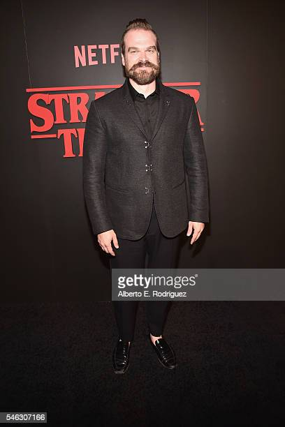 Actor David Harbour attends the Premiere of Netflix's 'Stranger Things' at Mack Sennett Studios on July 11 2016 in Los Angeles California