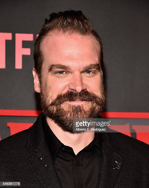 Actor David Harbour attends the Premiere of Netflix's 'Stranger Things' at Mack Sennett Studios on July 11, 2016 in Los Angeles, California.