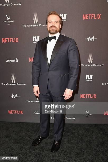 Actor David Harbour attends The Weinstein Company and Netflix Golden Globe Party presented with FIJI Water Grey Goose Vodka Lindt Chocolate and...