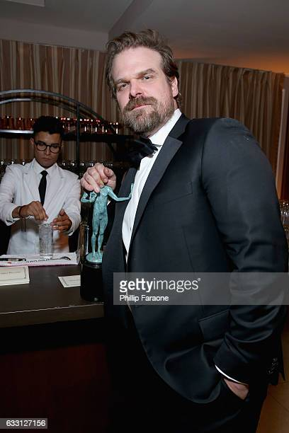 Actor David Harbour attends The Weinstein Company Netflix's 2017 SAG After Party in partnership with Absolut Elyx at Sunset Tower Hotel on January 29...