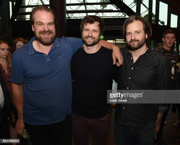Actor David Harbour creators writers executive producers Ross Duffer and Matt Duffer arrive at a reception and qa for Netflix's Stranger Thing at the...