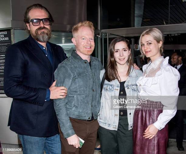 Actor David Harbour, Jesse Tyler Ferguson, guest and Alison Sudol is seen arriving to the premiere of 'Good Posture' during the 2019 Tribeca Film...