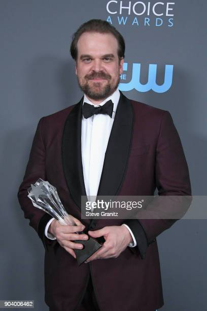 Actor David Harbour recipient of the Best Supporting Actor in a Drama Series award for 'Stranger Things' poses in the press room during The 23rd...
