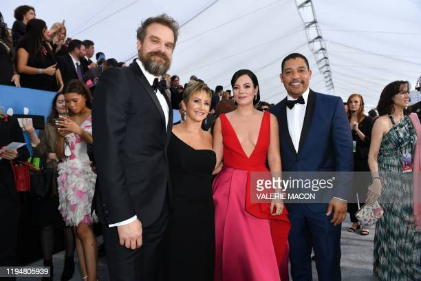 Actor David Harbour SAGAFTRA president Gabrielle Carteris singer Lily Allen and actor Jason George arrive for the 26th Annual Screen Actors Guild...
