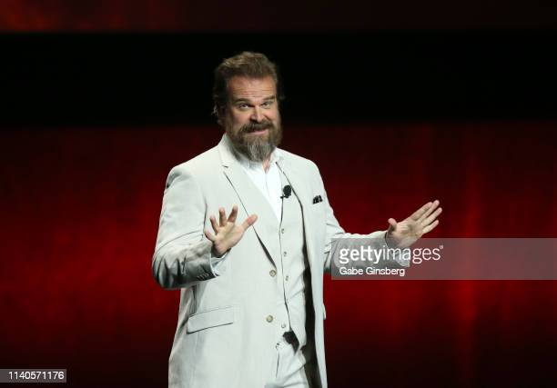 Actor David Harbour speaks during Lionsgate presentation during CinemaCon at The Colosseum at Caesars Palace on April 04, 2019 in Las Vegas, Nevada....