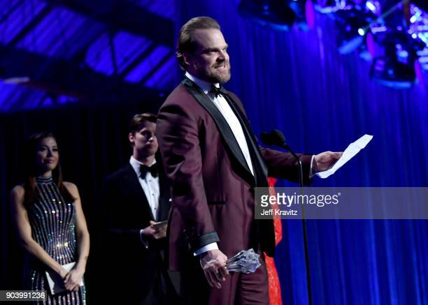 Actor David Harbour speaks on stage at The 23rd Annual Critics' Choice Awards at Barker Hangar on January 11 2018 in Santa Monica California