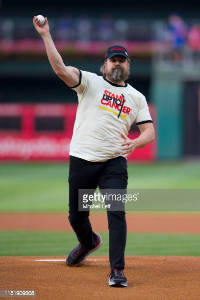 Actor David Harbour throws out the first ball prior to the game between the New York Mets and Philadelphia Phillies at Citizens Bank Park on June 25,...
