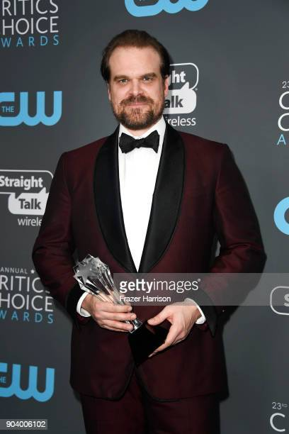 Actor David Harbour, winner of Best Supporting Actor in a Drama Series for 'Stranger Things', poses in the press room during The 23rd Annual Critics'...