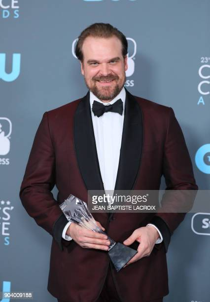 Actor David Harbour, winner of Best Supporting Actor in a Drama Series for 'Stranger Things attends the 23rd annual Critics' Choice Awards Press Room...