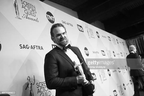 Actor David Harbour winner of the Outstanding Ensemble in a Drama Series award for 'Stranger Things' poses during The 23rd Annual Screen Actors Guild...