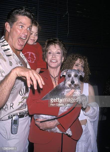 Actor David Hasselhoff actor Josh Ryan Evans actress Mary Tyler Moore and actress Bernadette Peters attend the Third Annual Broadway Barks AdoptAThon...