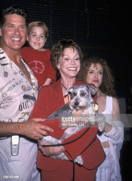 Actor David Hasselhoff actor Josh Ryan Evans actress Mary Tyler Moore and actress Bernadette Peters attend the Third Annual 'Broadway Barks'...