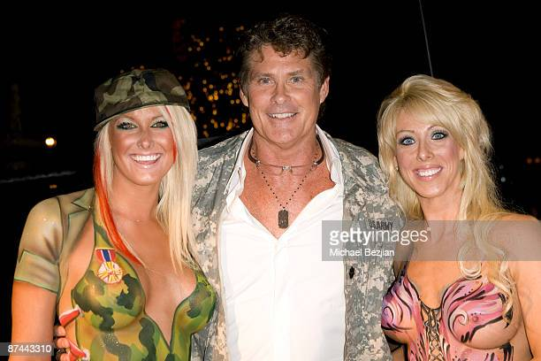Actor David Hasselhoff and bodypainted models pose at the Stars And Stripes Evening Of Sexy Patriotism at The Playboy Mansion on May 16 2009 in...