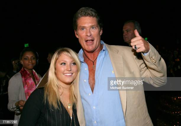 Actor David Hasselhoff and daughter Hayley Amber Hasselhoff talk to the media in the front row at the Christian Audigier Spring 2008 fashion show...