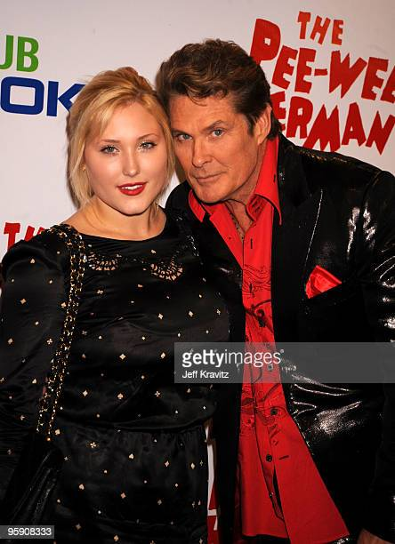 Actor David Hasselhoff and daughter Hayley Hasselhoff arrive at The Peewee Herman Show Los Angeles Opening Night at Club Nokia on January 20 2010 in...