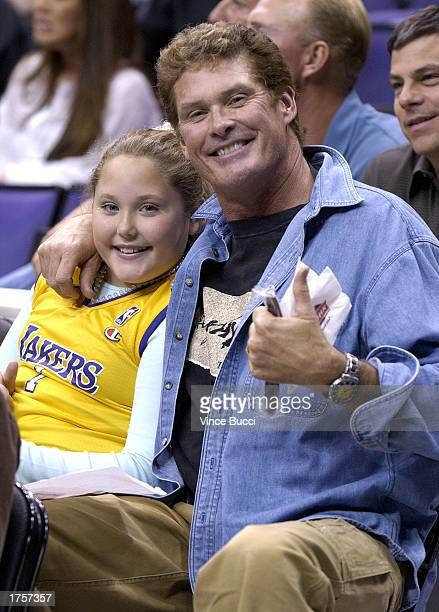 Actor David Hasselhoff and daughter watch the Utah Jazz play the Los Angeles Lakers on February 1 2003 at Staples Center in Los Angeles California