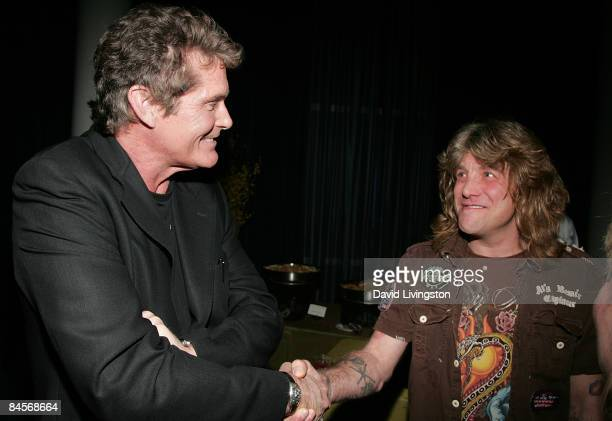 Actor David Hasselhoff and drummer and former member of Guns N' Roses Steven Adler attend the 2009 Pollstar Awards at the Nokia Theatre on January 30...