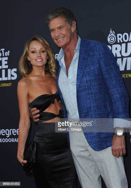 Actor David Hasselhoff and fiance Hayley Roberts arrive for the Comedy Central Roast Of Bruce Willis held at Hollywood Palladium on July 14 2018 in...